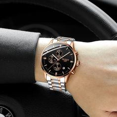 HAIQIN Official Luxury Branded Stainless Steel Men's Watch with Quartz Chronograph Rolex Watches For Men, Luxury Watches, New Mens Fashion, Watch Case, Luxury Branding, Thing 1, Quartz, Perfume, Stainless Steel