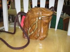 Timmy Woods Purse Carved Acacia Wood Horse Head