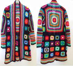 """""""Granny Square jacket, a Crochet Coat, Crochet Jacket, Crochet Cardigan, Crochet Clothes, Granny Square Crochet Pattern, Crochet Granny, Yarn Projects, Crochet Projects, Crochet Designs"""