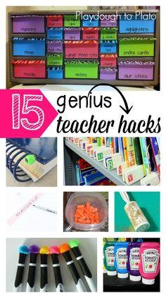 15 Genius Teacher Tips! Organization hacks, cleaning tips... lots of must-try teaching tricks.