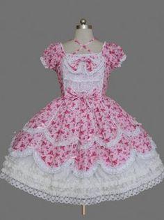 Vêtements de Bow manches courtes coton Sweet Lolita robe Lolita roses