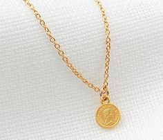 Gold coin necklace Dainty gold necklace Gold disc by HLcollection #gold #coin #necklace