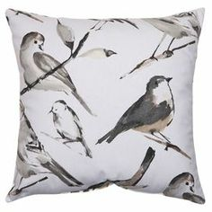 American-made pillow with a watercolor-style bird motif.  Product: PillowConstruction Material: PolyesterColor: Charcoal, black, and taupeFeatures:  Insert includedMade in the USA