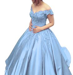 bc36e65d8c2 Angela Off Shoulder Lace Prom Dresses Tulle Long Puffy Quinceanera Dresses  Ball Gown AN035 at Amazon Women's Clothing store: