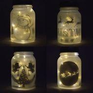 Decorative Christmas Holiday Frosted Warm White Mason Jar Luminaries Lantern Set (Battery Operated, 4 PACK)
