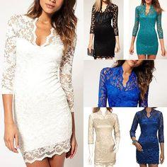 6 Colors Black/White/Blue/Apricot Women Lace Dress Scalloped Neck Sexy Slim 3/4 Sleeve Cocktail Dress S-XXL