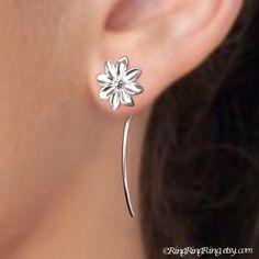 Long stem Daisy earrings - 925 Sterling silver earrings jewelry, Unique studs, gift for girlfriend 101712 Cuff Earrings, Unique Earrings, Flower Earrings, Beautiful Earrings, Cute Jewelry, Jewelry Art, Daisy Jewellery, Unique Jewelry, Artisan Jewelry