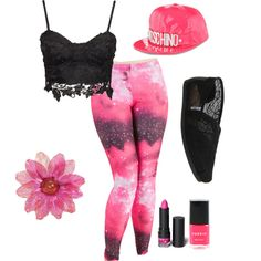 Pink and Black Outfit by swaggy-sarim on Polyvore featuring polyvore, fashion, style, TOMS, Moschino and Monki