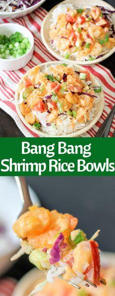 Bang Bang Shrimp Rice Bowls are easy and delicious! With the signature Bonefish Grill Bang Bang sauce, and fresh crunchy toppings, it's the perfect meal! Pork Rib Recipes, Fish Recipes, Seafood Recipes, Asian Recipes, Seafood Dishes, Recipies, Shrimp Sushi Bowl, Shrimp Rice Bowl Recipe, Shrimp Recipes With Rice