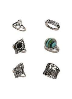 Semi Precious Ethnic Ring Pack