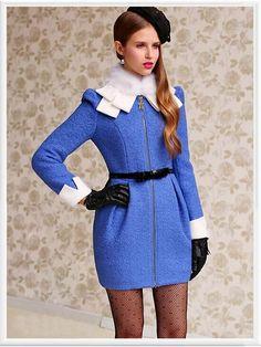 Blue Hair Zipper Trench Designer Dress Coat,  Morpheus Boutique collection.