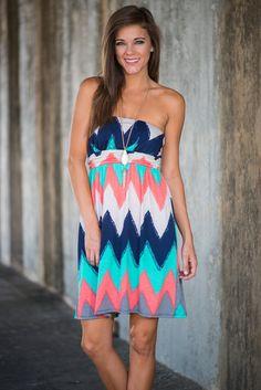 Always A Pleasure Dress, Coral-Navy #chevron #strapless #comfy