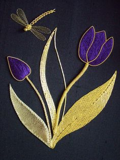 Tulip and Dragonfly Goldwork Tambour Embroidery, Hand Work Embroidery, Types Of Embroidery, Silk Ribbon Embroidery, Hand Embroidery Designs, Beaded Embroidery, Embroidery Stitches, Embroidery Patterns, Machine Embroidery