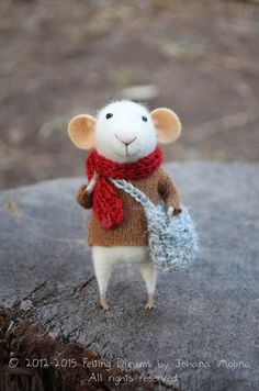Little Traveler Mouse-  Needle Felted Ornament - Felting Dreams by Johana Molina - READY TO SHIP