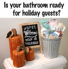 How to stage a bathroom for holiday guests.  Make them feel at home with a super clean bathroom and supply basket for things they may have forgotten at home.
