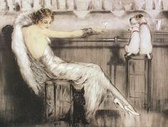 Louis Icart 'Martini' - the funny thing about Louis Icart is the glamourous women and cute dogs - normally there's be a Borzoi or some such regal looking dog, but not in Icart illustrations!