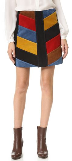 $645 M.i.h Jeans Chevron Suede Skirt