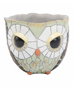 Take a look at this Gray Cement Mosaic Owl Planter today!