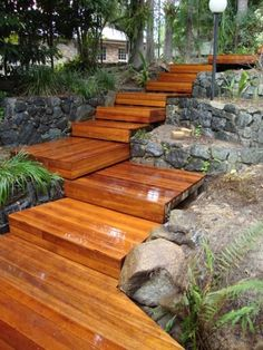 Timber Deck Design Ideas - Photos of Timber Decks. Browse Photos from Australian Designers & Trade Professionals, Create an Inspiration Board to save your favourite images. Deck Steps, Outdoor Steps, Outdoor Landscaping, Landscaping With Rocks, Front Yard Landscaping, Landscaping Ideas, Inexpensive Landscaping, Outdoor Pergola, Modern Pergola