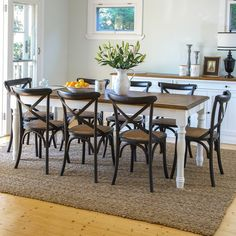 Coventry 2100 Dining Package with French Cross Chairs Black (Table:  2100W X 900D X 770H mm.  Chairs:  460W X 420D X 870H mm.) RRP $1,771