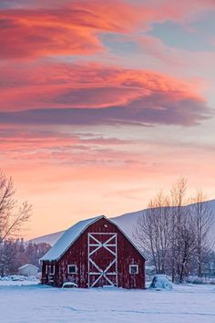 """""""Cool Sunset"""" by Mark Mesenko - Missoula, Montana - Red barn in a snowy, mountainous landscape. Country Barns, Country Life, North Country, Country Living, Country Roads, Beautiful Places, Beautiful Pictures, Beautiful Sky, Barn Pictures"""