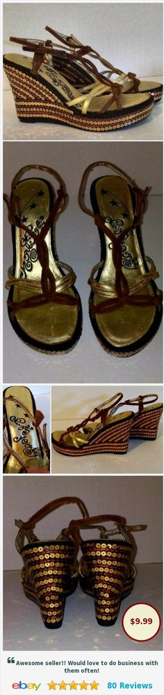 NAUGHTY MONKEY Womens Wedge Sandals Brown Gold Sequins @aviationagent #ebay http://www.ebay.com/itm/NAUGHTY-MONKEY-Womens-Sz7-Wedge-Sandals-Brown-Gold-Sequins-/122497957951?hash=item1c8572803f:g:O8QAAOSw42dZGcO-