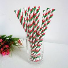 Paper Straws with Double Green Red Stripes http://www.paperstrawssale.com/paper-straws-with-double-green-red-stripes-500pcs-p-211.html