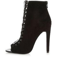 29721c70dd508e River Island Black lace-up peep toe heeled shoe boots ( 39) ❤ liked