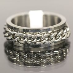 Stainless Steel Ring Chain Rotation Mens Womens Jewellery New Fashion Size 17-21