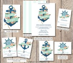 Items Similar To Anchor Wedding Invitation Nautical Engagement Party Invite Save The Date