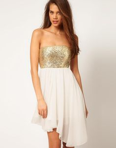 2013 Prom Dress Ideas For Teens: Sequin Bandeau Dress from Asos! Super affordable!