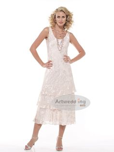 Tiered Tea Length Round Neckline Sheath Mother of the Bride Dress with Jacket