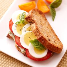 Sliced Egg and Tomato Sandwich with Pesto Mayonnaise - Fitnessmagazine.com I probably wouldn't use the mayo