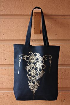 Black Tote Bag Book Bag Beach Bag with Gold Floral Henna Design by ibleedheART, $18.00