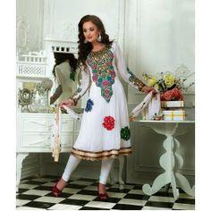 White Chiffon Salwar Kameez