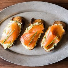 Smoked Salmon on Mustard-Chive and Dill Butter Toasts Recipe on Food52 recipe on Food52