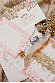 Gorgeous ornate detail for a glamorous California wedding #pink #gold #invitation  @Ceci New York @Jordan Payne