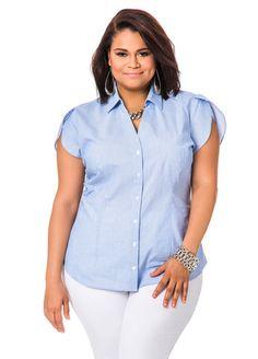 30f9b049 Striped Petal Sleeve Poplin Shirt Petal Sleeve, Build A Wardrobe, Plus Size  Womens Clothing
