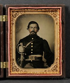 Quarter Plate Tintype Portrait of a Union Soldier 565$$