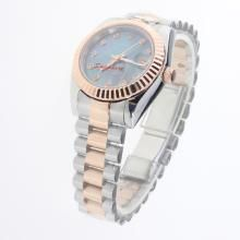 Rolex Datejust Automatic Two Tone Diamond Markers with Blue MOP Dial-Mid Size