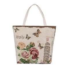 Mid Size Canvas Printing Landscape Women Handbags European Style Shoulder Bag Leisure Shopping Bags Casual Tote 45*38*10cm