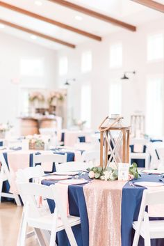 A Bright, Fun Summer Sycamore Winery Wedding in Terre Haute, IN Navy Blush Weddings, Blue And Blush Wedding, Dusty Rose Wedding, Navy Wedding Centerpieces, Summer Wedding Decorations, Wedding Summer, Wedding Ideas, Wedding Tables, Dream Wedding