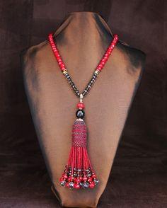 Red Quartz & Smoky Quartz Tassel Necklace