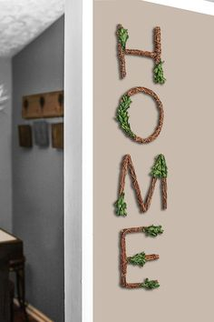 "Amazon.com: Farmhouse Wall Decor HOME Grapevine Sign - Rustic Wall Decorations for Living Room and Perfect for Your Farmhouse Kitchen Decor. Letters measure 8""x 8: Everything Else"