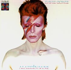 David Bowie wearing his iconic lighting makeup on the cover of his 1973 album, Aladdin Sane. Iconic Album Covers, Greatest Album Covers, Rock Album Covers, Classic Album Covers, Music Album Covers, David Bowie Album Covers, Aladdin Sane, Beatles, Cover Art