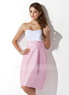 Bridesmaid Dresses - $89.99 - Sheath Sweetheart Knee-Length Taffeta Bridesmaid Dress With Ruffle (007004307)