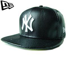 """(ニューエラ) NEW ERA 59FIFTY """"パンチレザー"""" NEW YORK YANKEES ブラック【WHITE】【BLACK】【黒】【newera】【帽子】【ニューヨーク・ヤンキース】【メジャー】【LEATHER】【CAP】【キャップ】【合皮】【NY】"""