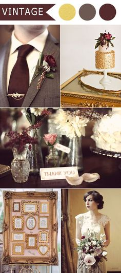 marsala and gold vintage themed wedding ideas for 2016:
