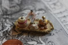 Dollhouse Miniature Tray of Ladies Toiletry Items 1:12 Scale Handmade OOAK by laurelwil on Etsy