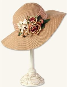 Sorghum Heirloom Roses Straw Hat by Victorian Trading Company